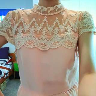 Peach Lace Blouse Only $5dollar