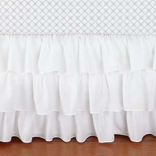 Pottery Barn Kids - White ruffle Crib Skirt (white)