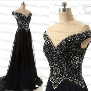 Black Off The Shoulder Ball Dress