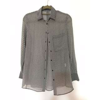 Zara sheer houndstooth blouse
