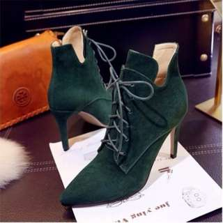 Martin lace up suede booties