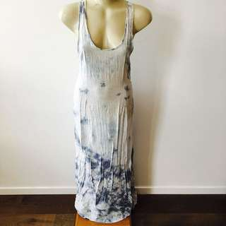 Blue And White Tie Die Maxi Dress
