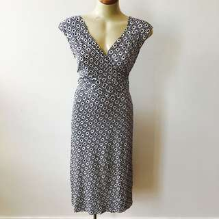 Flattering Wrap Dress With Blue And White Print