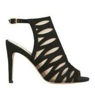 New NUDE black suede peeptoe pump heels RRP $189.95 [Size 37]