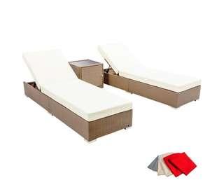 3 pcs Brown Wicker Rattan 2 Seater Outdoor Lounge Set Beige