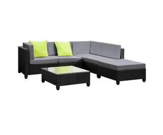 6 pcs Black Wicker Rattan 5 Seater Outdoor Lounge Set Grey