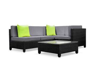 5 pcs Black Wicker Rattan 4 Seater Outdoor Lounge Set Grey