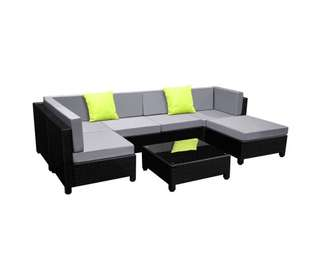 7 pcs Black Wicker Rattan 6 Seater Outdoor Lounge Set Grey