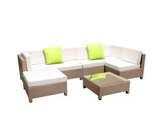 7 pcs Brown Wicker Rattan 6 Seater Outdoor Lounge Set Beige