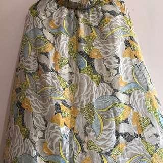 Oriental Print Chiffon Skirt Yellow And Grey