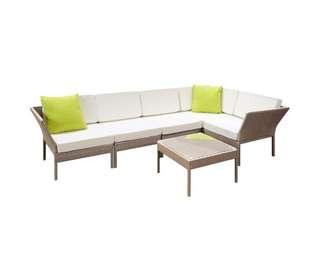 Stackable 6 pcs Brown Wicker Rattan 5 Seater Outdoor Lounge Set Beige