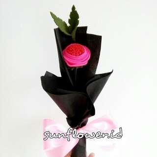 Bunga Flanel Mawar Single