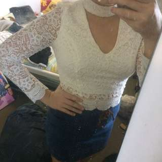 White Lace Top- Ally
