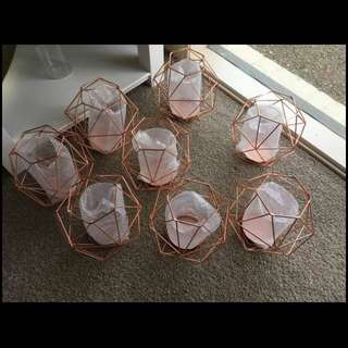 Copper Aztec Candle Flower Holders x 8
