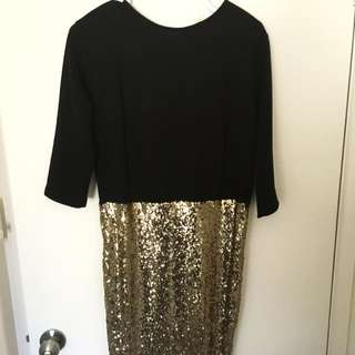 Club L Black And Gold Sequin Dress