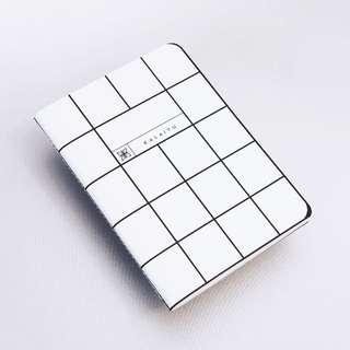 Grid White Pocket Notebook   Graphic Notebook   Minimalist Notes
