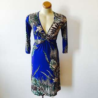Blue Brown Yellow Grey Green Feather Print Slinky Dress