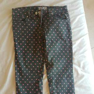 Pink Hearts Jeans Size 26-27