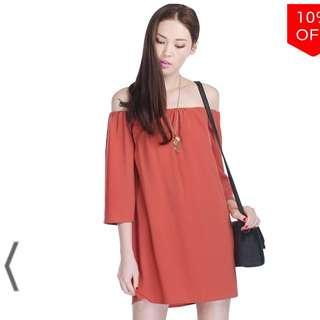 Fayth Leila Off Shoulder Dress Burnt Orange M