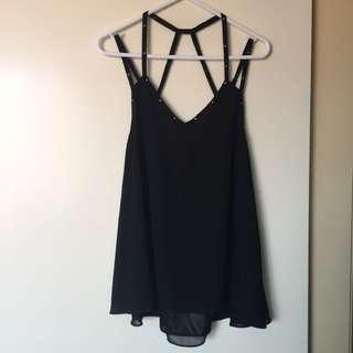 Black Studded Strap Top - XS