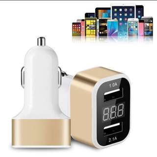 Auto car-styling 2 Port Charger Adapter with current meter tester car charger inverter Car Charger For Cellphone