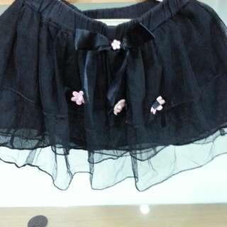 時尚黑色小花短裙