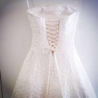 Elegant strapless beaded lace A-line wedding dress