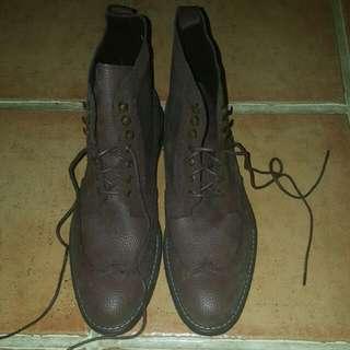 Zalora Dark Brown Wingtip Boots