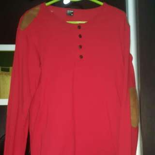 Praise Red Long Sleeve Button Henley With Suede Elbow Decoration.
