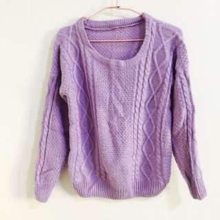 馬卡龍紫色圓領針織毛衣