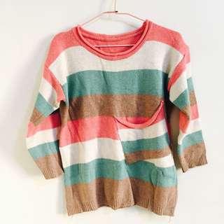 可愛條紋口袋針織毛衣