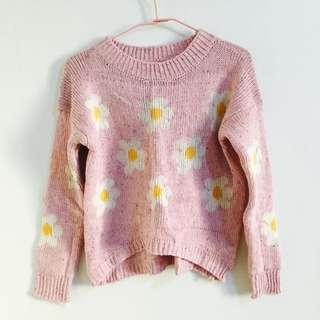 滿版小花粉紅針織毛衣