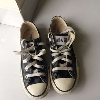 Converse All Star Black White Leather Ori (Bekas)