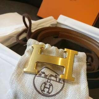Hermes Signature H Belt (Gold Buckle With Black / Brown Strap)