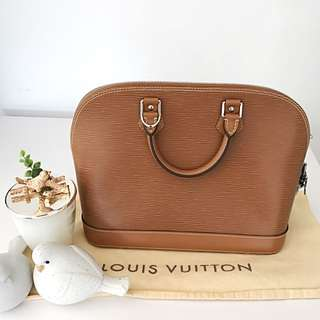 NEW LOUIS VUITTON LV ALMA PM IN LIGHT BROWN EPI LEATHER 💯% AUTHENTIC