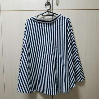 Navy White Stripe Flare Skirt Cotton Free Size From Taiwan