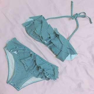 Lulu's 條紋多層荷葉比基尼泳裝