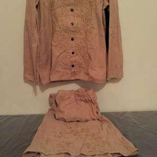 #barteryuk Setelan blouse dan rok payung bordir