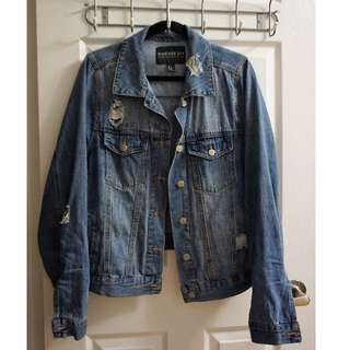 FOREVER 21 Ripped Denim Jacket (Size 2XL)