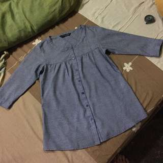 Stripe Denim Blouse/blus Simplicity
