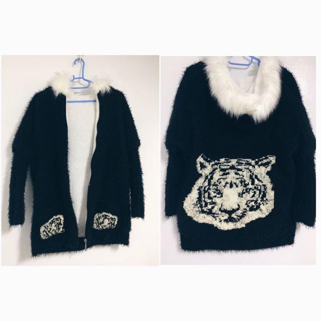 老虎毛絨絨鋪棉保暖外套