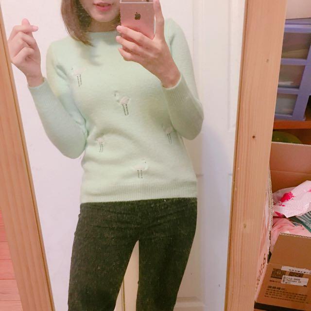 綠色糖果色毛衣針織上衣
