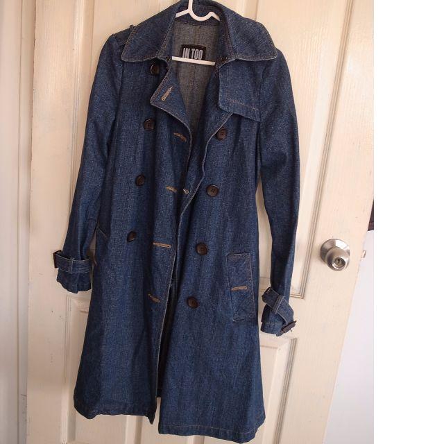 長版牛仔外套(雙排扣、附腰帶)