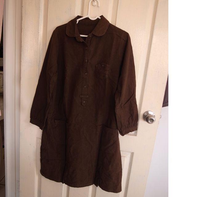 咖啡色長版上衣/洋裝