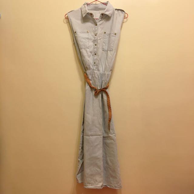 丹寧連身長裙