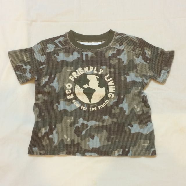 美國品牌 Babies R Us 迷彩印花短袖上衣(18個月 )(全新)