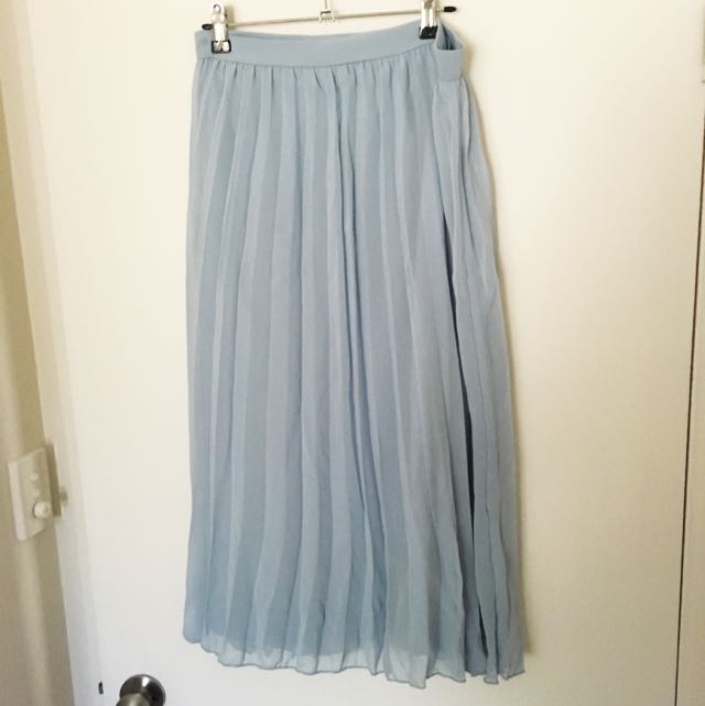 ASOS Curve Blue Pleated Midi Skirt Size 20