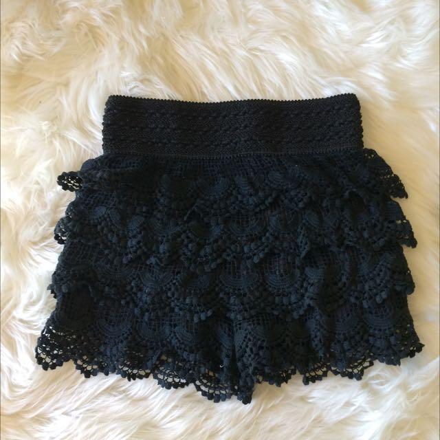 Black Lace High Waisted Shorts