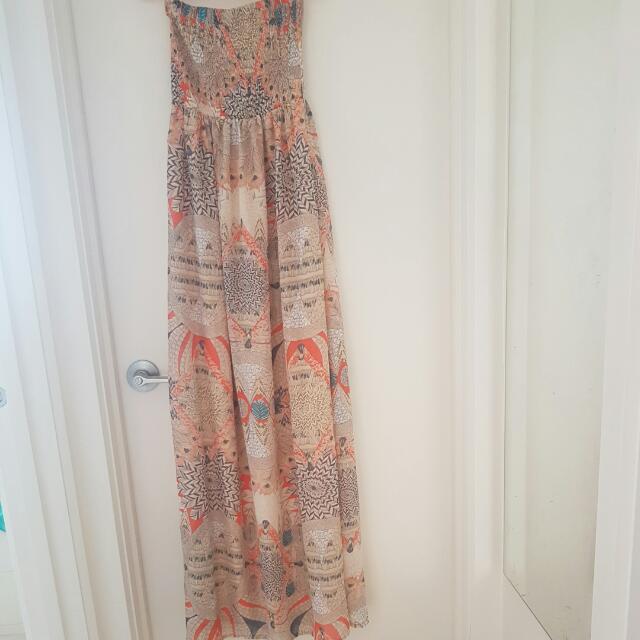 Bohemian Strapless Maxi Dress XS-S Size