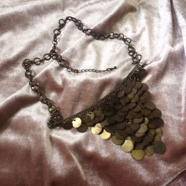 brassy color necklace